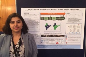Dr. Sristi Sharma (Harvard's Program in Global Surgery and Social Change) accepted the best poster award for presentation of  the Lancet Commission on Global Surgery's work in India.