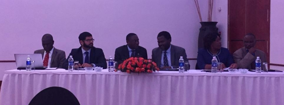 Zambian leaders at the National Surgical, Obstetric and Anaesthesia Forum. From left to right: Dr. Michael Mbambiko, Dr. Swagoto Mukhopadhyay, Dr. Kennedy Lishimpi, Dr. Emmanuel Makasa, Dr. Getrude Gundumure Tshuma, Dr. Chabwela Shumba.